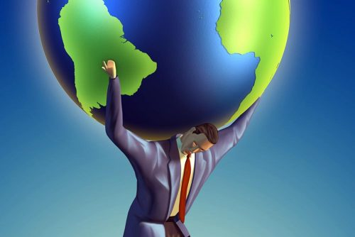 Businessman takes the Earth on its shoulders. Digital illustration